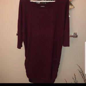 Express Burgundy Long Sleeve Sweater Sz L